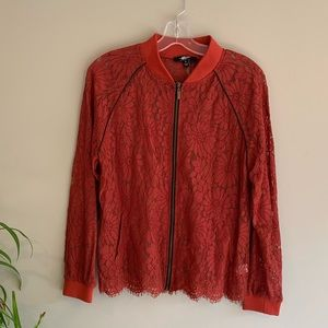 Red Daisy Floral Lace Bomber Jacket Fair Child M
